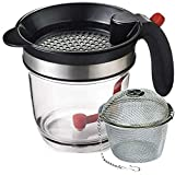 JGS Best Fat Separator with Bottom Release (4 cups) - Gravy Separator, Fat Separator Measuring Cup, Grease Separator, Oil Separator, Fat Separator Strainer, Gravy and Fat Seperator
