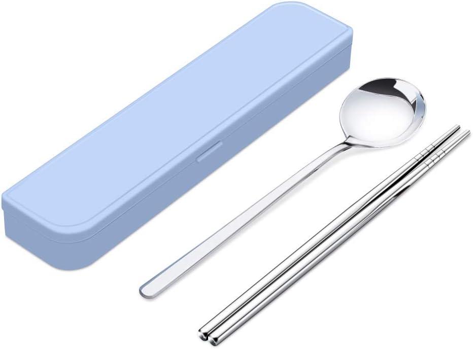 2PCS-A Tragbares Besteckset mit Etui Wiederverwendbares Besteck aus rostfreiem Stahl Mit Essst/äbchen mit Gabell/öffel