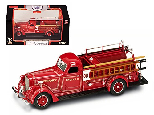 1939 American LaFrance B-550RC Fire Engine Red 1/43 Diecast Car Model With Acrylic Display Showcase by Road Signature 43007r (Fire Engine Signature)
