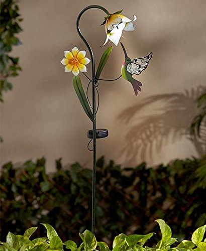 Solar Flower Stakes (Yellow Flower with (Hummingbird Garden Stake)