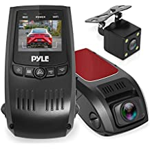 Pyle Upgraded DVR Dash Cam Kit - Digital Screen Vehicle Dual Camera Video Recording System in Full HD 1080p and 32GB Memory w/ Motion Detect Parking Control Loop Record Support PLDVRCAM74