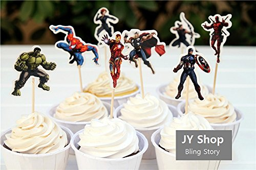 [24pcs Superhero Captain America Iron Man The Avengers Cupcake Toppers Picks Baby Shower Kids Birthday Party Supplies Cake] (Avengers Superhero)