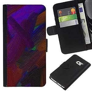 All Phone Most Case / Oferta Especial Cáscara Funda de cuero Monedero Cubierta de proteccion Caso / Wallet Case for Samsung Galaxy S6 EDGE // Vibrant Brown Oil Painting