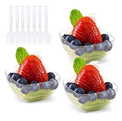 Kingrol 100 Ct Mini Dessert Cups with Spoons,