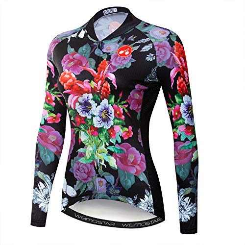 - Women's Cycling Jersey Long Sleeve Winter Thermal Fleece Cycle Racing Shirt Bicycle Bike Girl Sportswear Clothing Flowers Black Size M