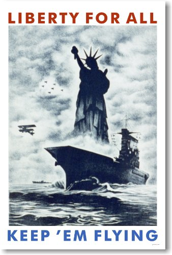 - Liberty For All - Keep 'Em Flying - Vintage WW2 Reproduction Poster