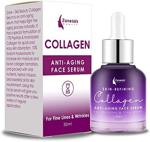 Collagen Face Serum with Peptides & Hyaluronic Acid. Skin Care, Plumps, Firms, Corrects. Anti aging Face Serum