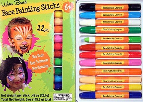 Face Painting Sticks 12 Color Set  Long Lasting Twist Up Crayon Style Sticks