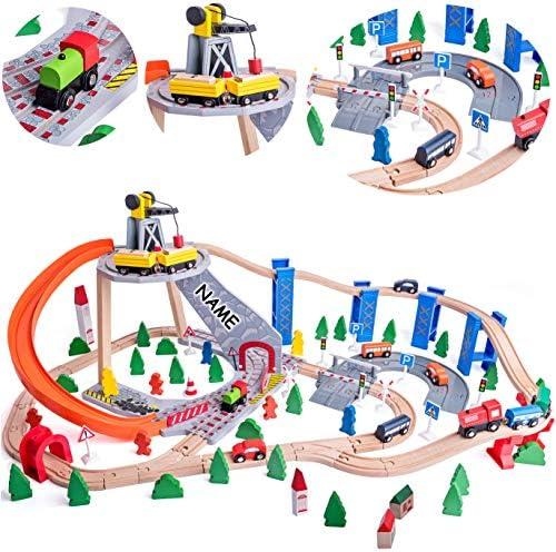 130 TLG. XXL Set: Holz - Eisenbahn mit Schienen & Straßen + Berg mit Kran - 107 cm - Holzeisenbahn - erweiterbar für alle Schienen-Systeme & Straßen - z.B. Br..