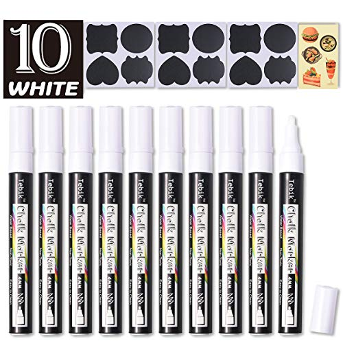 Tebik White Liquid Chalk Markers Set, Pack of 10 White Chalkboard Paint Pens with 12 Chalkboard Labels, 5 Stickers, Perfect for Chalkboards, Bistro Boards, Glass and Metal (Chalk Liquid White)