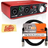 Focusrite Scarlett 2i2 USB Audio Interface Bundle with XLR Cable and Austin Bazaar Polishing Cloth