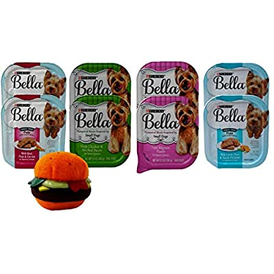 Purina Bella Small Breed Dog Food 4 Flavor 8 Can with Toy Bundle, (2) Each: Beef Peas Carrots, Chicken Smoked Bacon, Lamb Peas Sweet Potatoes, Filet Mignon (3.5 Ounces)