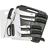 Elk Ridge ER-190 Big Game Cutlery Knife Kit with Case, Rubber Handle, 9-Piece Set