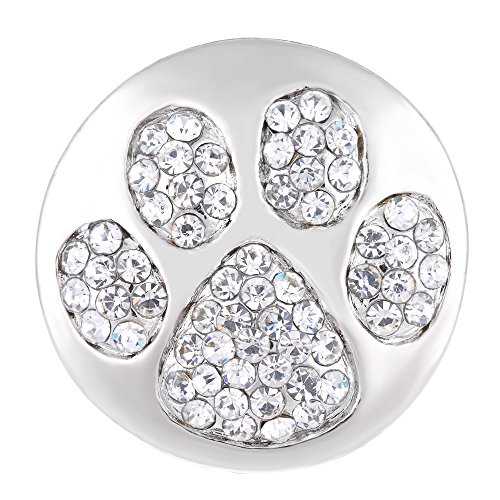 Vocheng 18mm Paw Print Snap Bling Crystal DIY Jewelry Vn-1135 Pack of 2pcs
