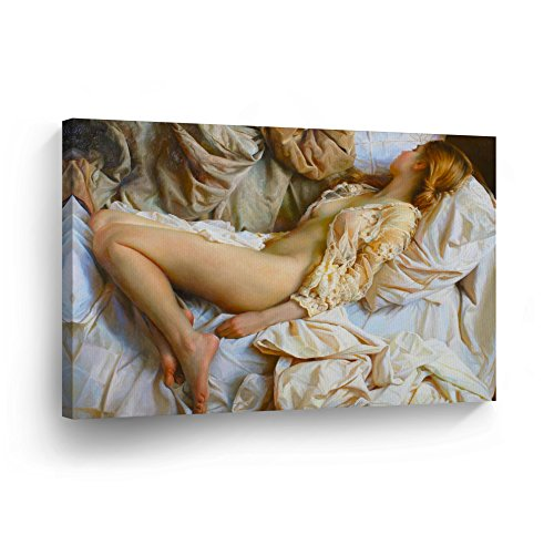 Half Naked Sleeping Beauty in White Sheets Nude Sexy Lady Woman Girl Oil Painting CANVAS PRINT Decorative Art Wall Home Artwork -%100 Handmade in the USA _CA by Smile Art Design