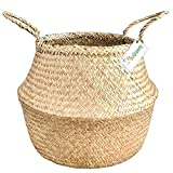 EKOGO Large Seagrass Belly Basket| Handwoven Foldable Storage Basket with Handles for Laundry, Picnic, Pot Cover, Decor | Natural, Eco-Friendly Household Items