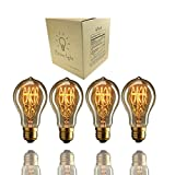 Edison Bulb , 60w Industrial Vintage Antique Style Incandescent Clear Glass Light Squirrel Cage Design E26 E27 Medium Base Lamp A19 (4 Pack) for Chandeliers Wall Sconces Pendant Lighting