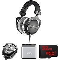 BeyerDynamic Headphones - 80 ohms (DT 770-PRO) with Slappa HardBody Headphone Case, FiiO A1 Portable Headphone Amplifier (Silver) & 32GB MicroSD High-Speed Memory Card