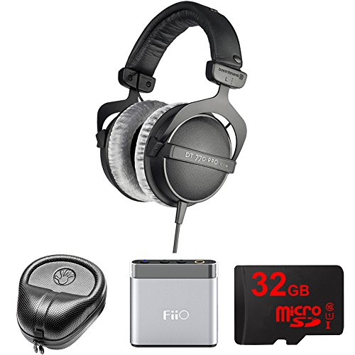 Dt 770 Pro Headphones (BeyerDynamic Headphones - 80 ohms (DT 770-PRO) with Slappa HardBody Headphone Case, FiiO A1 Portable Headphone Amplifier (Silver) & 32GB MicroSD High-Speed Memory Card)