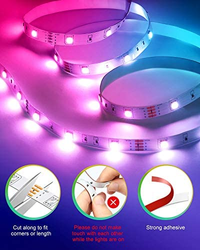 Nexillumi WiFi Smart Alexa-Enabled LED Lights for Bedroom 40 feet with Remote Music Sync 5050 RGB Flexible LED Strip Lights (40Ft WiFi+ Remote+ MIC Control)