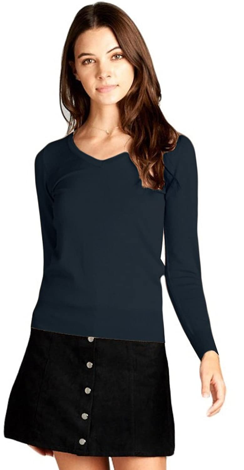 ToBeInStyle Women's Classic Long Sleeve V-Neck Pullover Sweater (1X, Navy)
