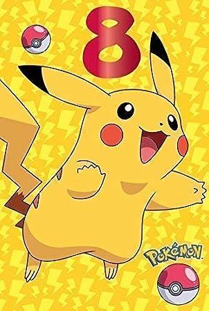 Pokemon 8 Tarjeta Cumpleaños Pikachu