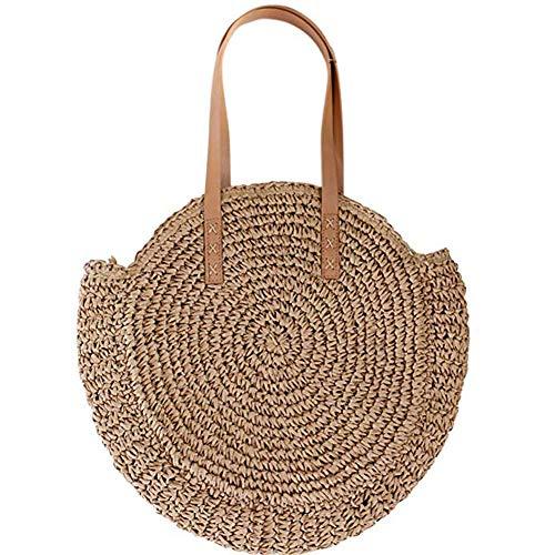 (Straw Large Bag Woven Shoulder Bag Wallet Ladies Handbag Round Beach Purse Retro Handle Bag (Camel))