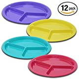 (12 Pack) ChefLand 3 Compartment Reusable Hard Plastic Divided Plates Microwave Safe Assorted Colors, 10.5
