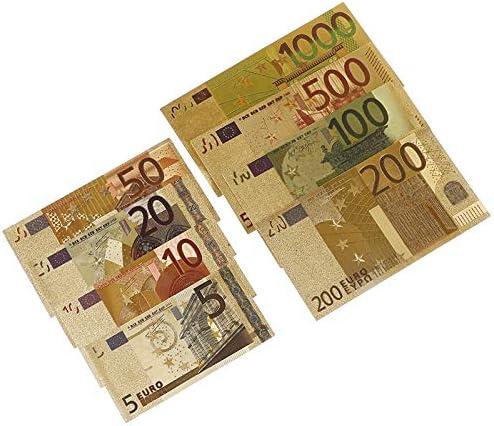 CHENTAOCS 証明書カード・ワースコレクション 8個セット金箔紙幣カラフルゴールド紙幣ユーロゴールドメッキ紙幣 使いやすい