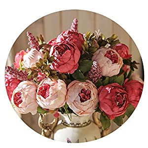 Miao Express 13 Branch/Bouquet Artificial Flowers Peony Vivid Flores artificiales Fake Silk Rose Bridal Wedding Decor Wreath Gland Home 60