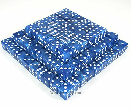 Blue Marbleized Dice d6 (Six Sided) 16mm (5/8in) Pack of 200 Dice Koplow Games