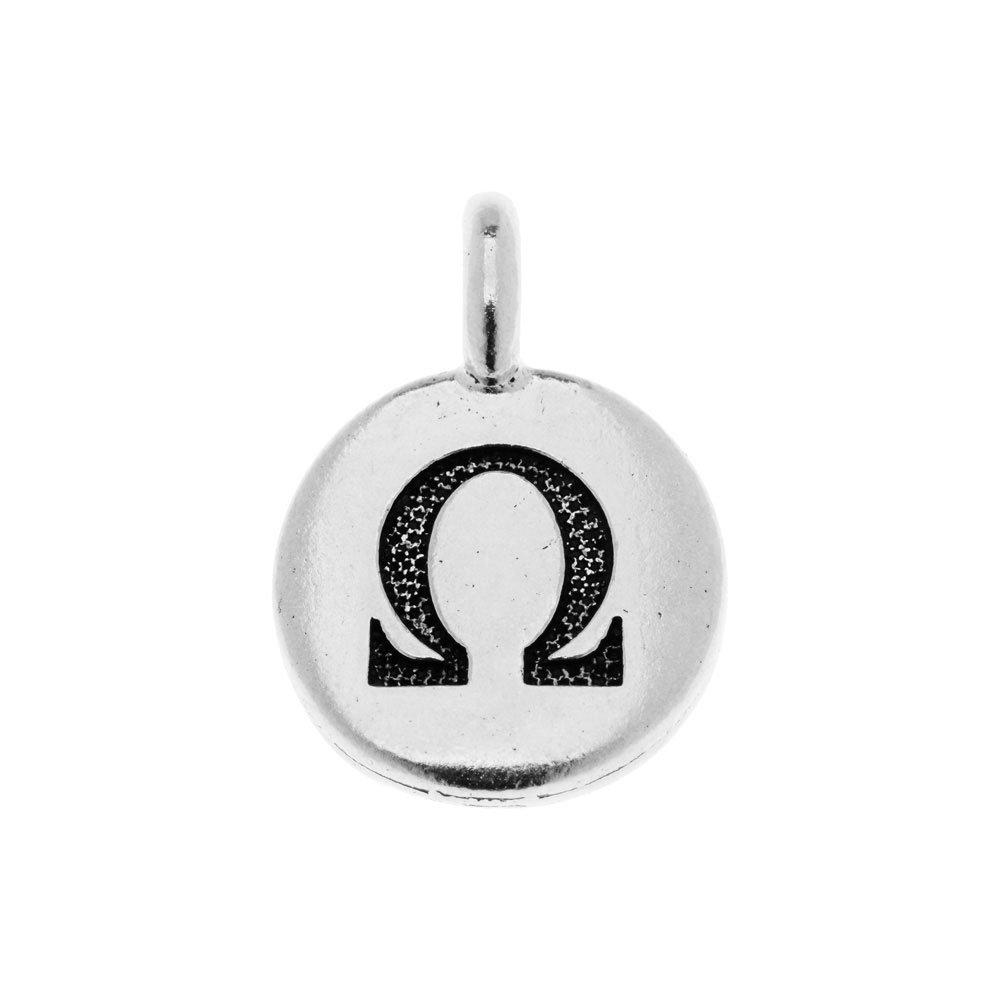 TierraCast Greek Alphabet Charm, Omega Symbol 16.75x11.75mm, 1 Piece, Antiqued Silver Plated