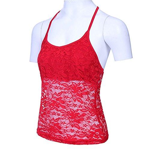 Senza Donna Spalline da Maniche Camicia in Sexy Camicetta Red Pizzo Senza Queenq x5WUqw8XIc