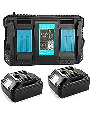 TPDL 2 stuks vervangende Makita accu 18V 5.0Ah met vervanging 4A DC18RD dubbele lader voor Makita BL1850 BL1840 BL1830 gereedschapsaccu