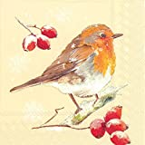 Ideal Home Range C705360 20-Count Winter Robin Paper Cocktail Napkins, Cream