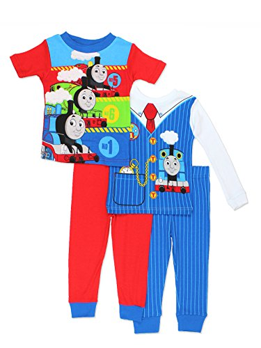 Thomas & Friends Toddler Boys 4 Piece Cotton Pajamas Set (4T, Blue/Red) -