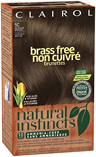 Clairol Natural Instincts, 5C, Brass Free, Med Brown