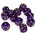 Chessex Manufacturing 27667 16 mm Borealis Royal Purple With Gold Numbers D6 Dice Set Of 12の商品画像
