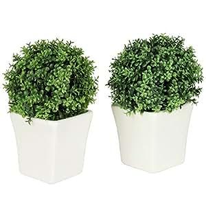 Verde Artificial en maceta plantas suculentas en blanco cerámica de mecánico cuadrado maceta, juego de 2