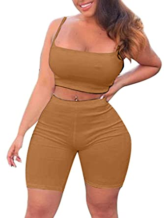 673bf0f12616 TOB Women's Bodycon 2 Pieces Outfit Spaghetti Strap Crop Tank Top Shorts  Pants Amber