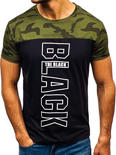 Ombre Courtes shirt 3c3 Bolf T Col – Rond Manches Mode Homme 10859 Vert Imprimé 0TxXT
