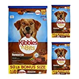 Kibbles 'n Bits 50 lb Homestyle Grilled Beef & Vegetable Flavors Dry Dog Food, Large (3 pack)