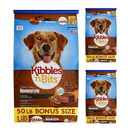 Kibbles 'n Bits 50 lb Homestyle Grilled Beef & Vegetable Flavors Dry Dog Food, Large (3 pack) by Kibbles 'n Bits