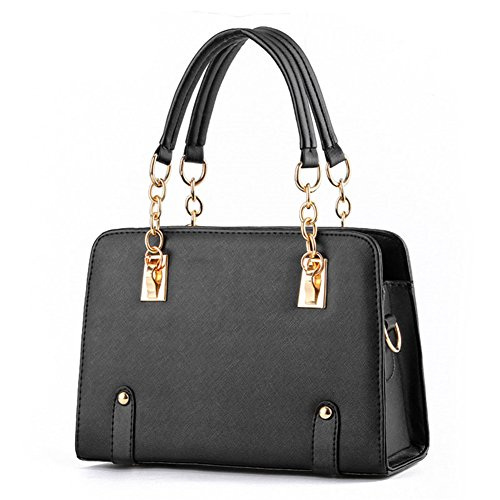 Hynbase Womens Upscale Fashion Chain Leisure Handbag Shoulder Bag Black