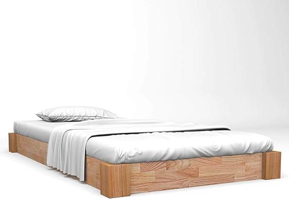 vidaXL Madera Maciza de Roble Estructura de Cama Marco Somier Mueble Dormitorio Habitación Hogar Cuarto Dormir Decoración 90x200 cm