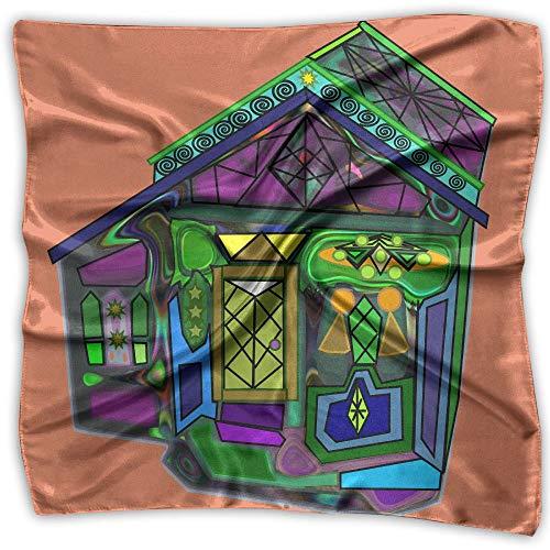 Cartoon Halloween House Womens Large Square Satin Head Bandanas Silk Like Neck -