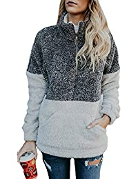 Women Long Sleeve Zipper Sherpa Sweatshirt Soft Fleece...