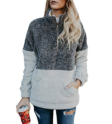 BTFBM Women Long Sleeve Zipper Sherpa Sweatshirt Soft Fleece Pullover Outwear Coat with Pockets (Grey, - Fleece Zip Pullover Quarter