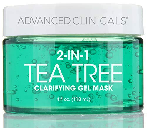 Advanced Clinicals Tea Tree Oil Mask. 2-in-1 overnight sleep mask with Tea Tree Oil, Witch Hazel and Grapefruit Extract for dry skin, T-zone oil control, clogged pores, congested skin. 4 fl oz