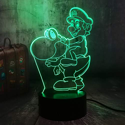 (Game Action Figure Cute Super Mario Toys Riding Dinosaur 3D LED RGB Night Light 7 Colors Table Lamp Decor Home Party Kids Toys Birthday Christmas Gift(Cute Mario))